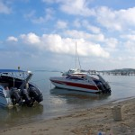 Speedboats at the Petcharat Marina Pier and view on the Big Buddha