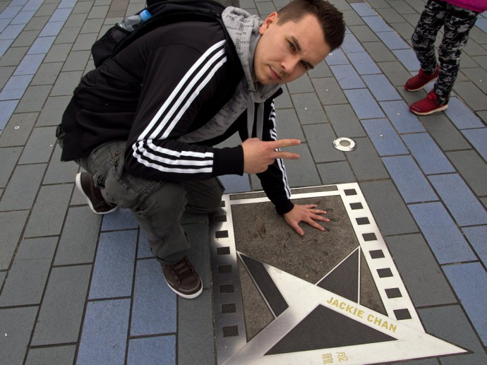 Marcel and the star of Jackie Chan on the Avenue of Stars
