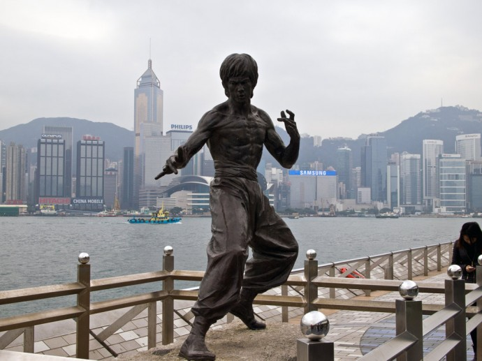 The Bruce Lee statue on the Avenue of Stars in Hong Kong