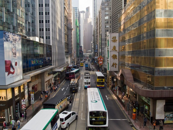 Street scene in the Financial District of Hong Kong Island