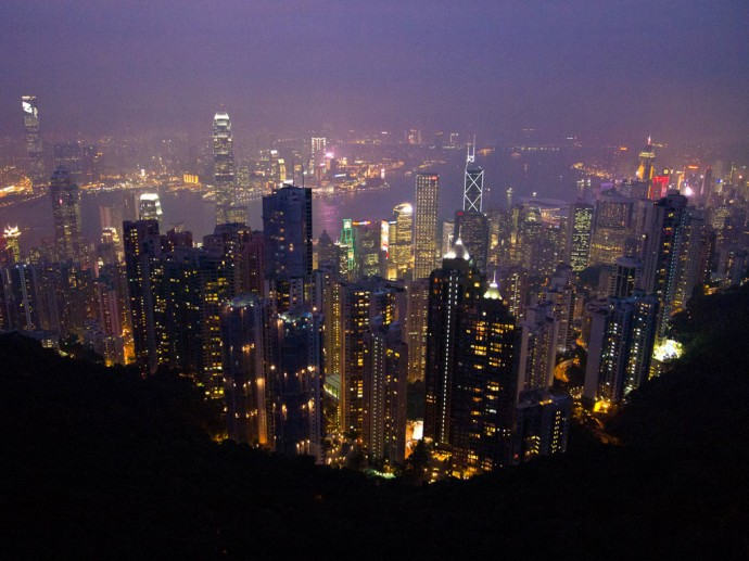 View from the Victoria Peak towards Hong Kong Island and Kownloon