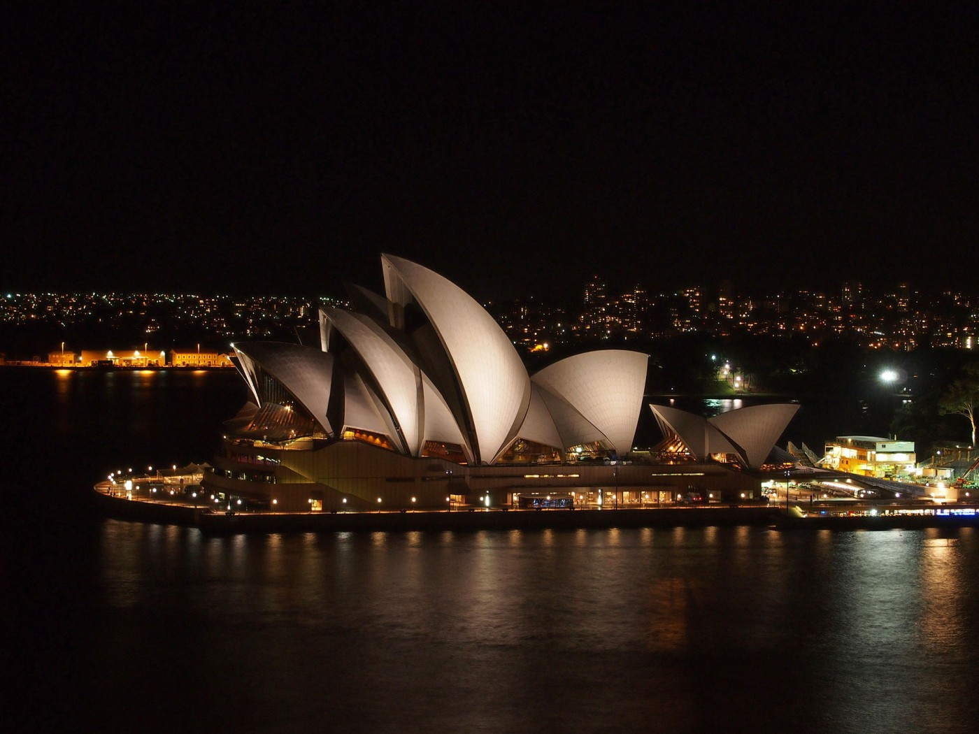 View at the Sydney Opera from the Harbour Bridge at night