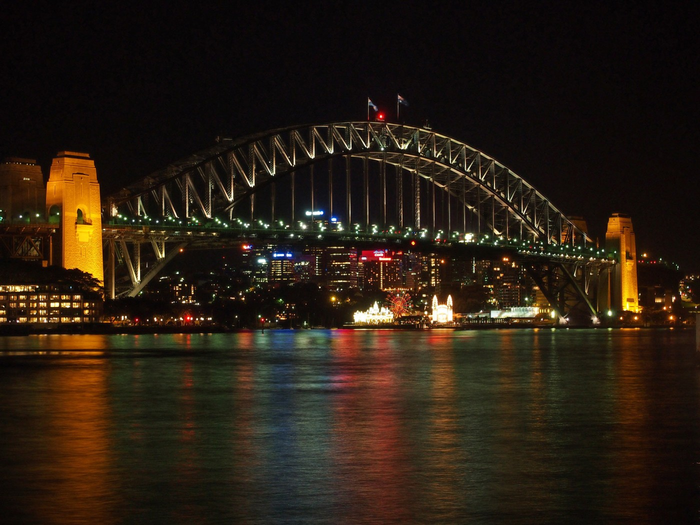 View at the Harbour Bridge of Sydney at night