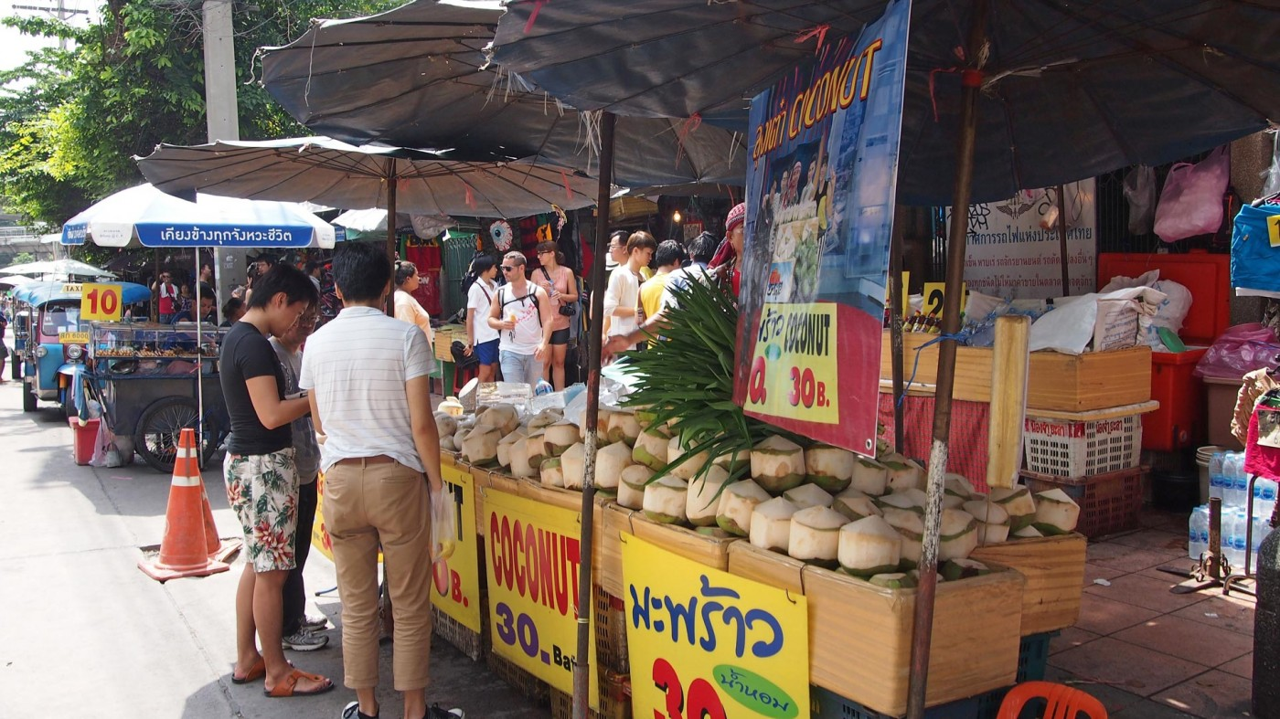 Coconuts at the entrance of the Chatuchak Market, Bangkok, Thailand
