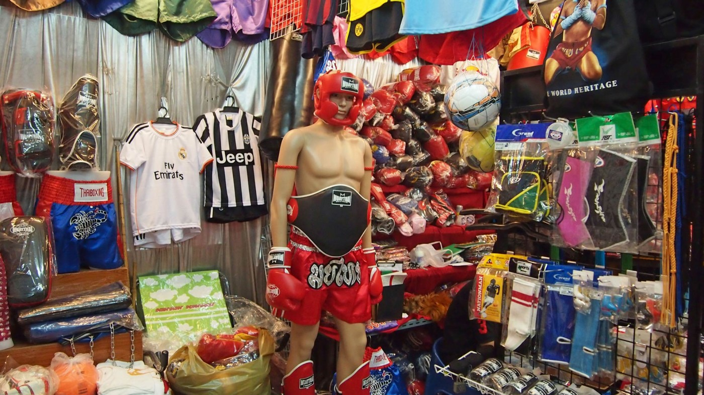Football jerseys and Muay Thai equipment at the Chatuchak Market