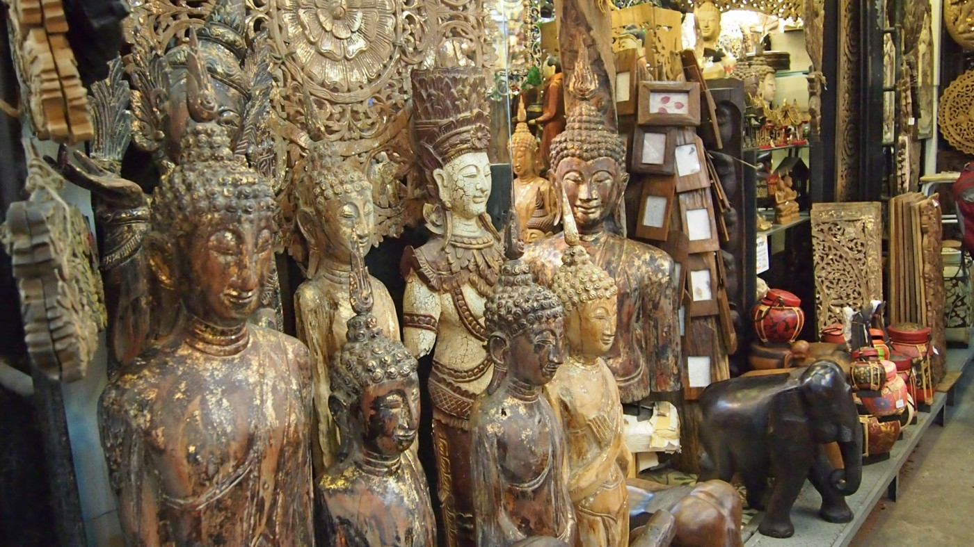 Buddha statues at the Chatuchak Market, Bangkok, Thailand