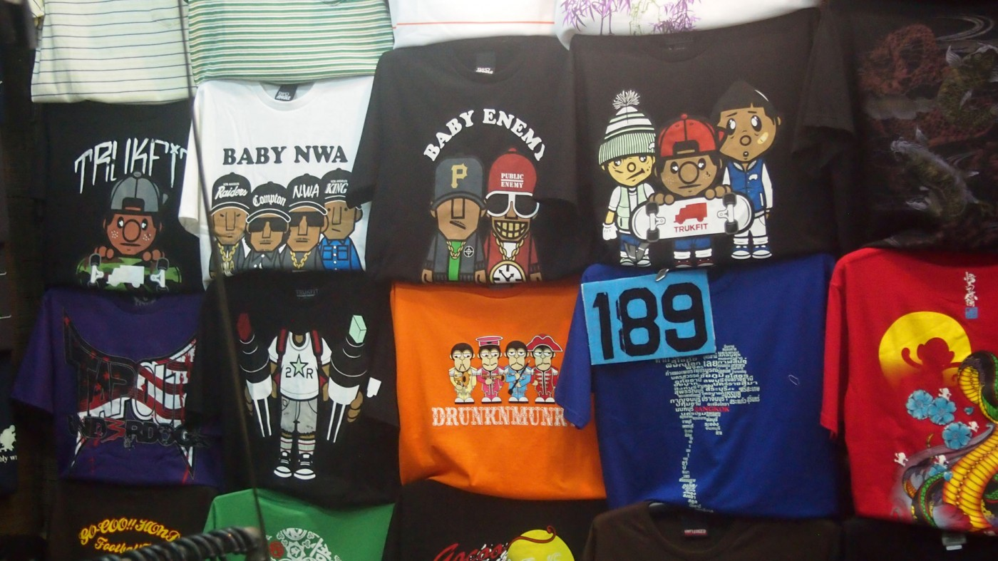 Hip-Hop T-shirts at the Chatuchak Market in Bangkok, Thailand