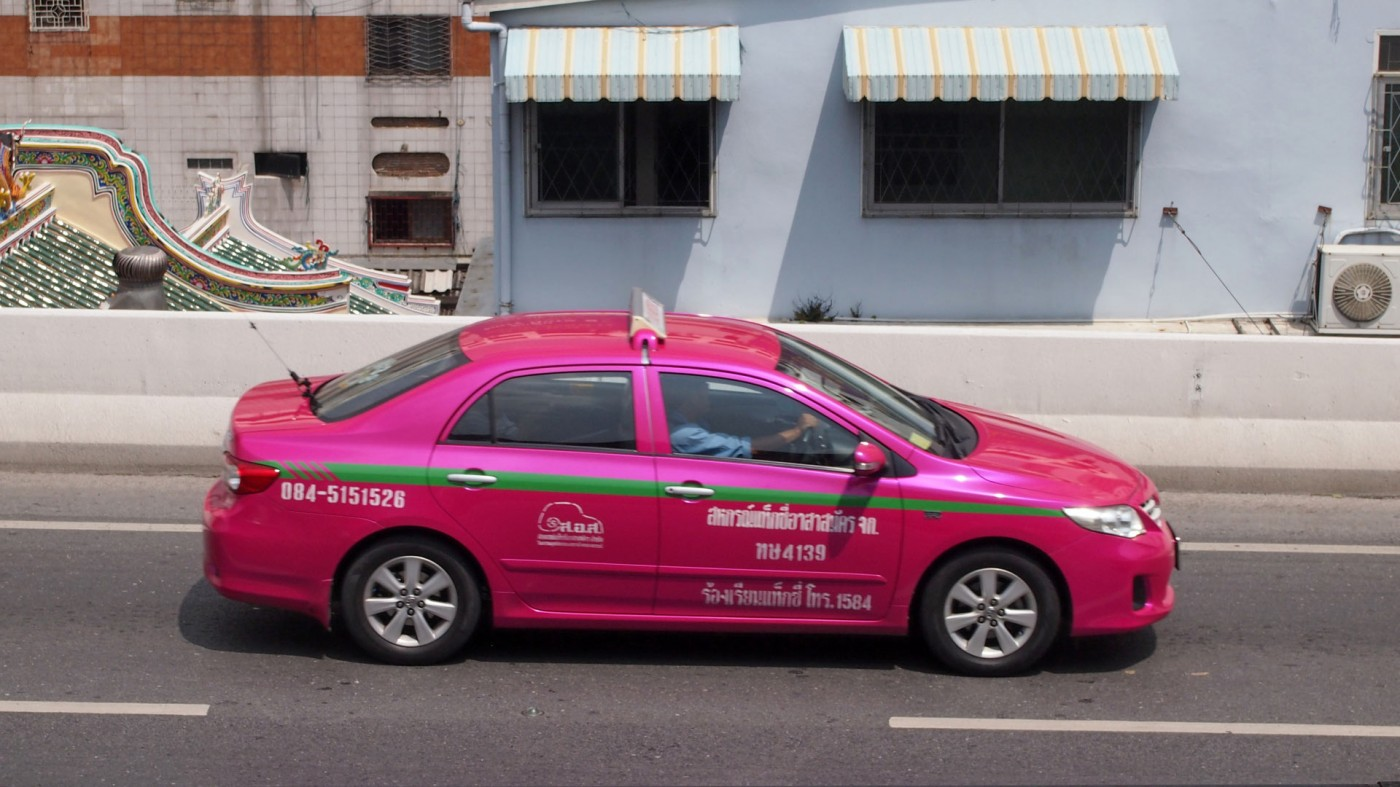 One of the nice pink taxis in Bangkok