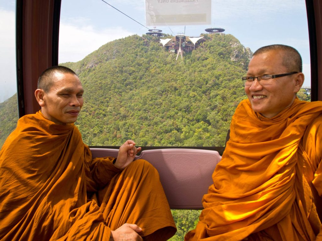 Monks in the Cable Car on Langkawi