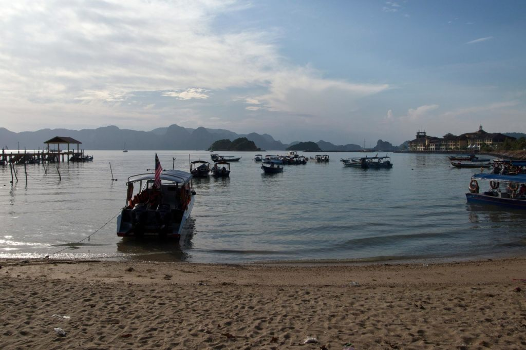 Beach and harbor on Langkawi, Malaysia