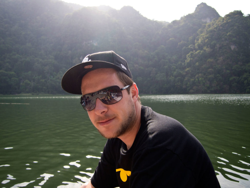 Tobi at the freshwater lake 'Lake of the Pregnant Maiden' on Pulau Dayang Bunting