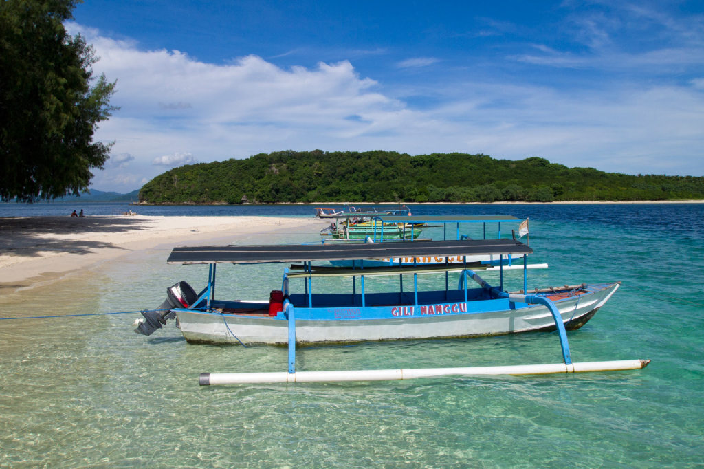 Boats at the beach of Gili Nanggu, Lombok