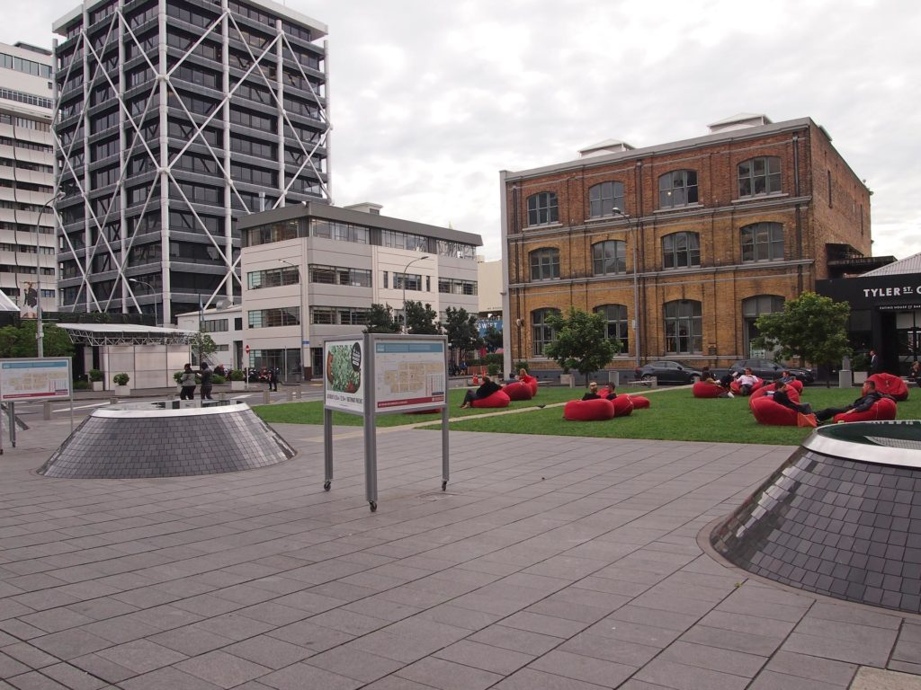 Chilled atmosphere in Auckland with armchairs in the city