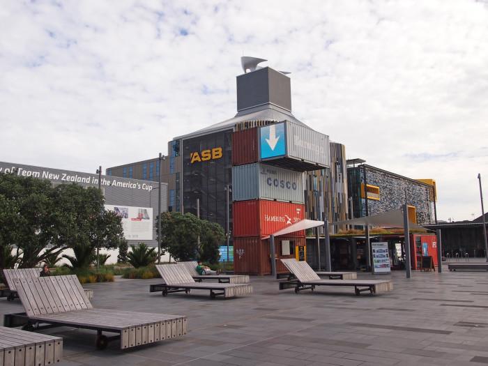 Containeraustellung am Hafen von Auckland, Neuseeland