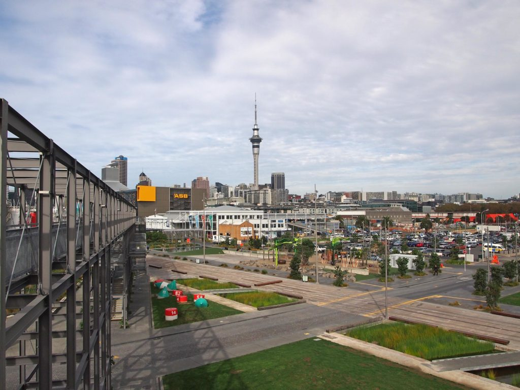 The view from the harbour at the Central Business District of Auckland