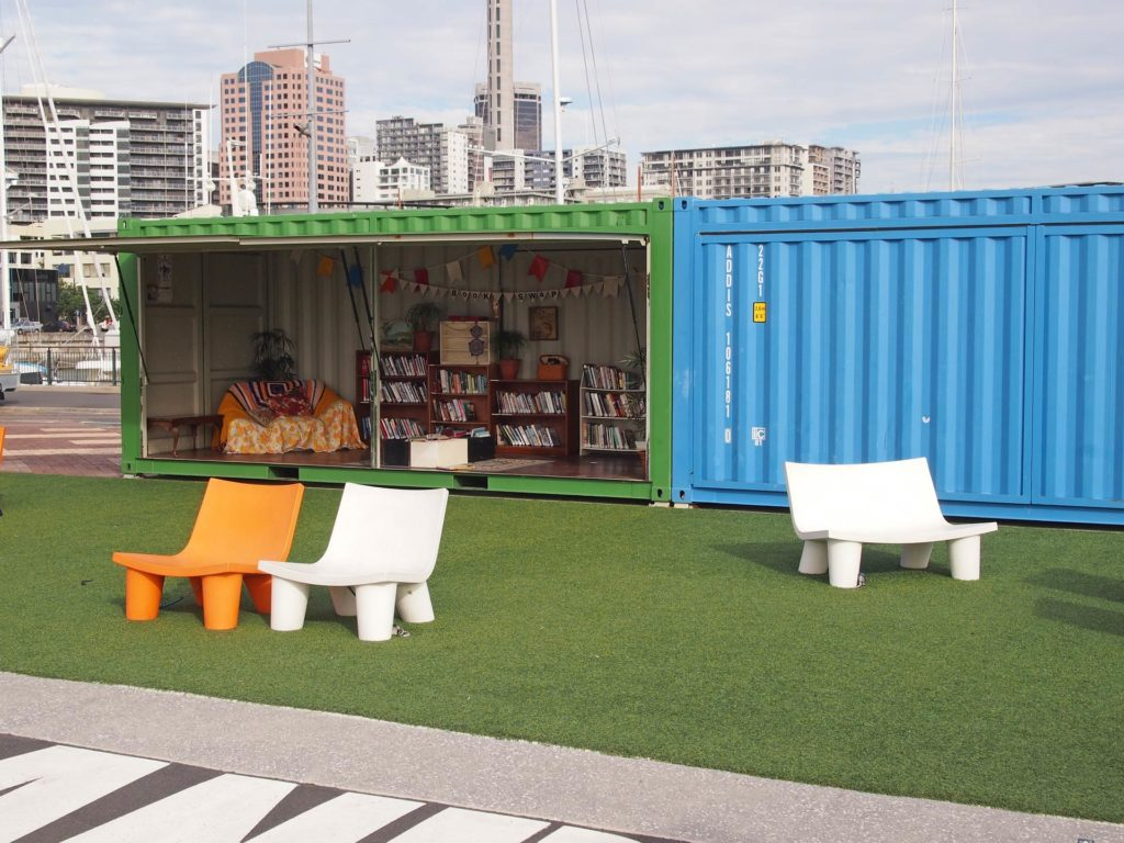 Amazing idea, a free library at the harbour of Auckland