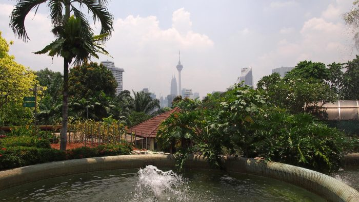 View at the KL skyline from the Orchid Garden
