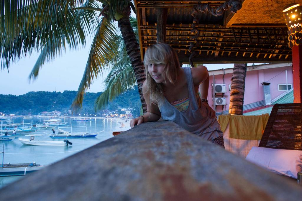 Lea in her accommodation in El Nido Town with an ocean view