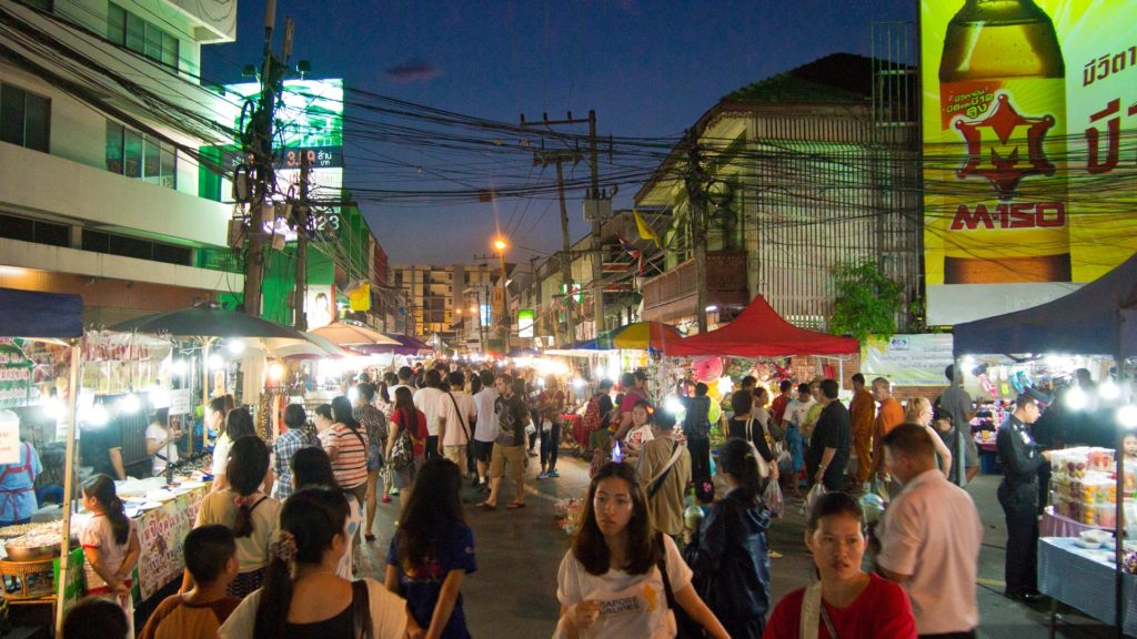 The Saturday night Walking Street near the Chiang Mai Gate