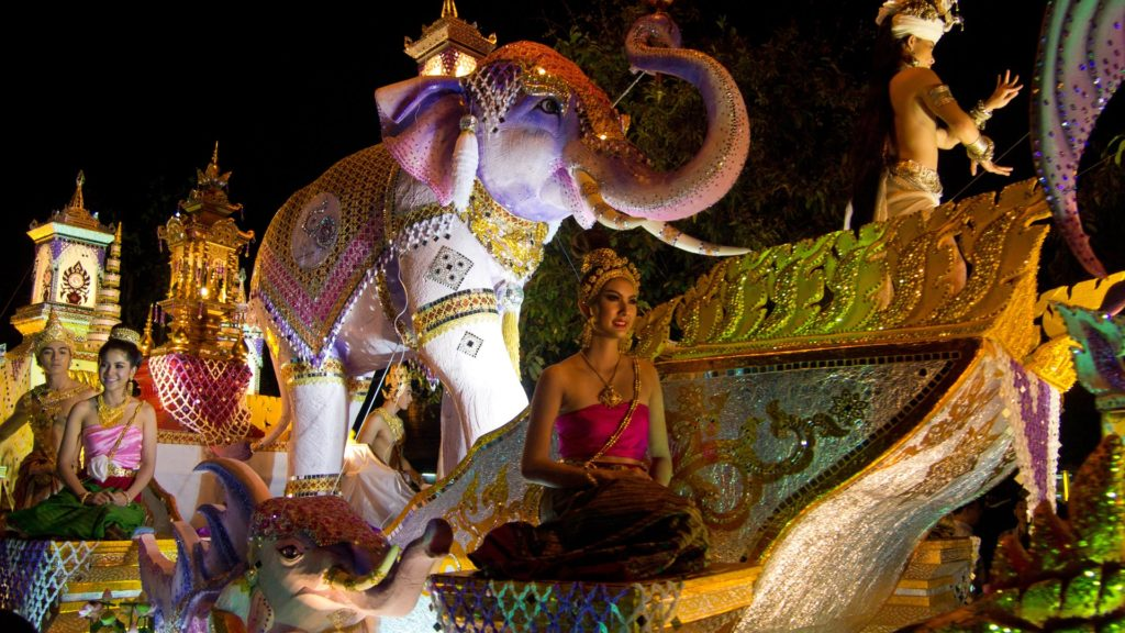 One of the parades during Loy Krathong, Chiang Mai