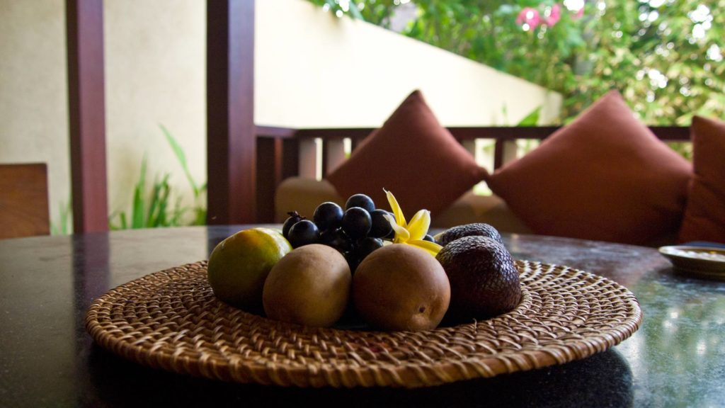 Fruit platter in the Qenari Villa at Qunci Villas, Lombok