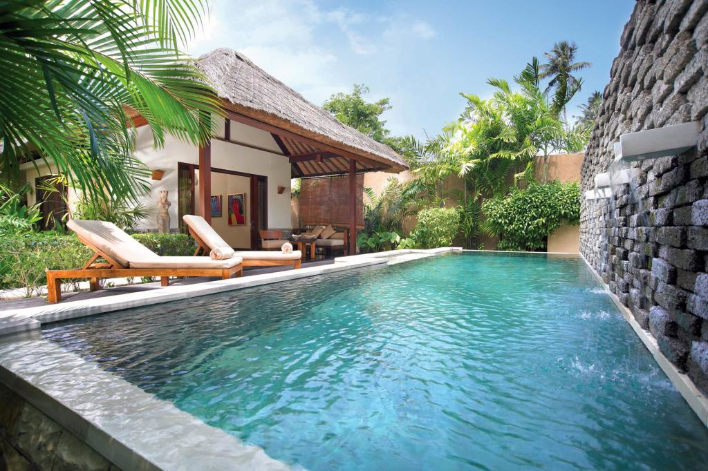 Swimming pool and terrace in a One Bedroom Pool Villa at Qunci Villas, Lombok