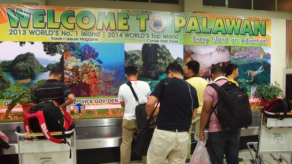 'Welcome to Palawan' banner at the baggage belt of Puerto Princesa