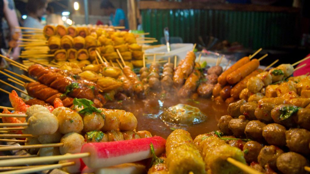 Food at the Naka Weekend Market between Chalong and Phuket Town