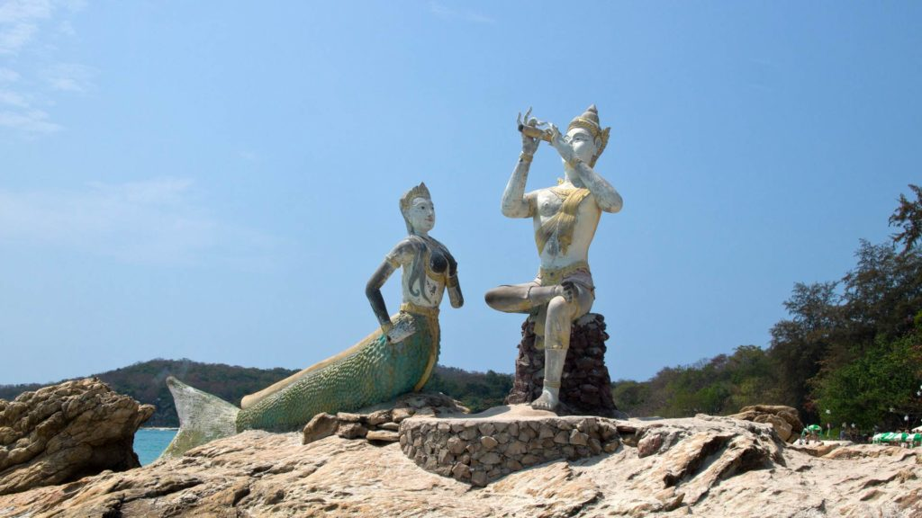 Statue of Aphai Mani and the mermaid at Haad Sai Kaew