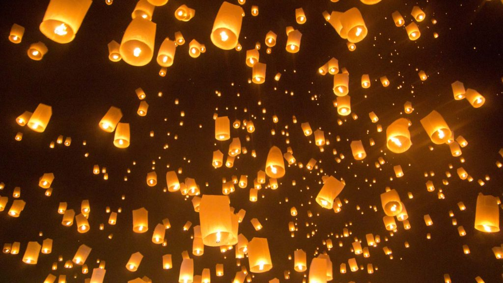 Lanterns rising during the Yi Peng Festival in Chiang Mai