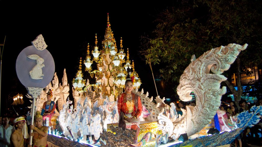 Decorated cars at Loy Krathong