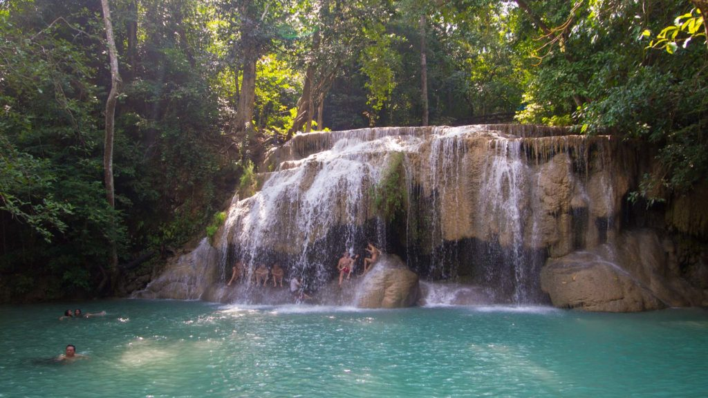 The second tier of the Erawan Waterfall - perfect to take a swim