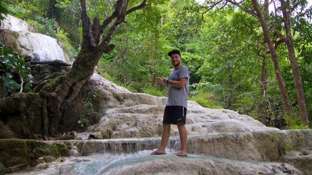 Tobi at the sixth tier of the Erawan Waterfall