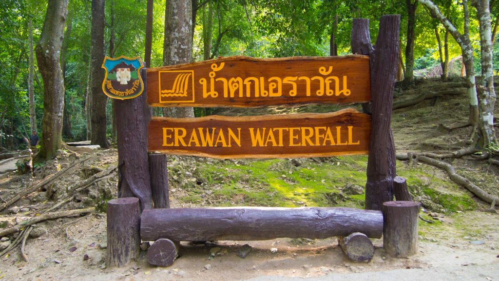 A sign at the Erawan Waterfall