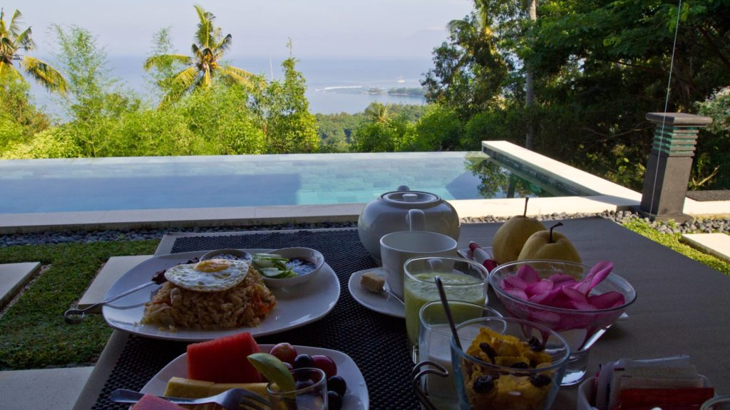 Breakfast and view from The Puncak, Lombok
