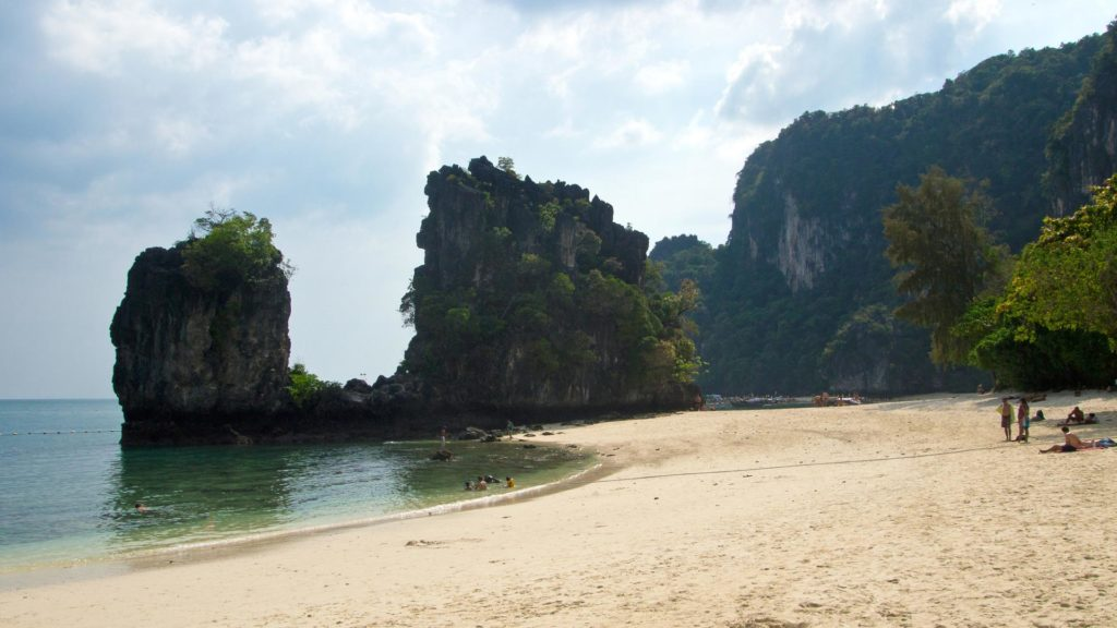 The rock which seperates the two beaches of Hong Island