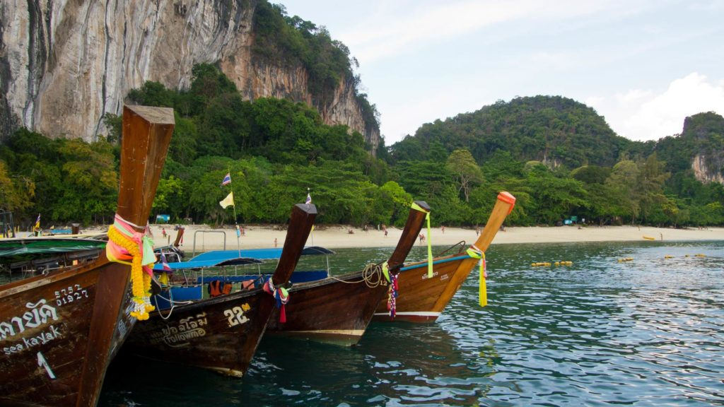 Longtail boats at Hong Island, Krabi