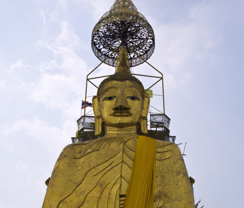 The Standing Buddha in the Wat Intharawihan in Bangkok