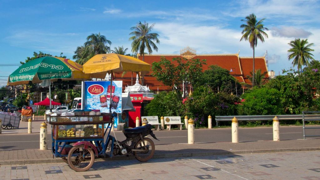 Obstverkäufer in Vientiane, Laos