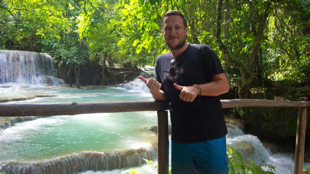 Tobi at the Kuang Si Waterfall in Luang Prabang, Laos