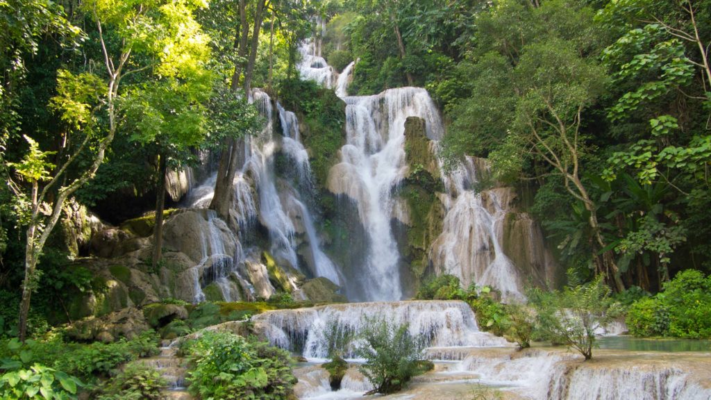 The highest level of the Kuang Si Waterfall with 60 meters, Luang Prabang