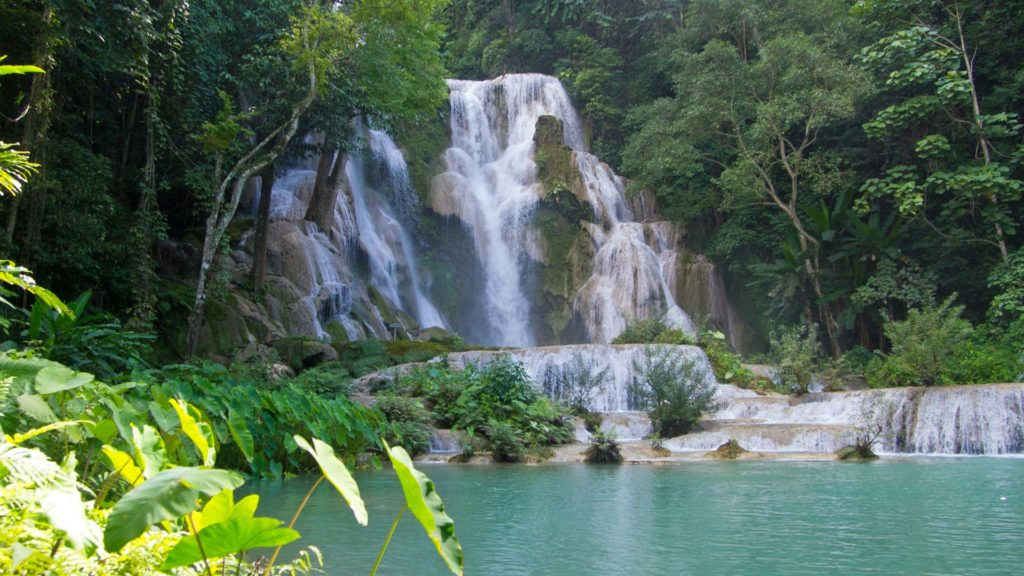 View at the Tat Kuang Si Waterfall near Luang Prabang, Laos