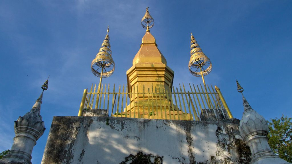 The golden Stupa of the Wat Chom Si at the top of Mount Phou Si, Luang Prabang