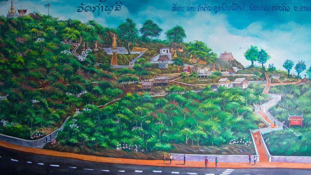 Selfmade map of the way to the top of Mount Phou Si, Luang Prabang