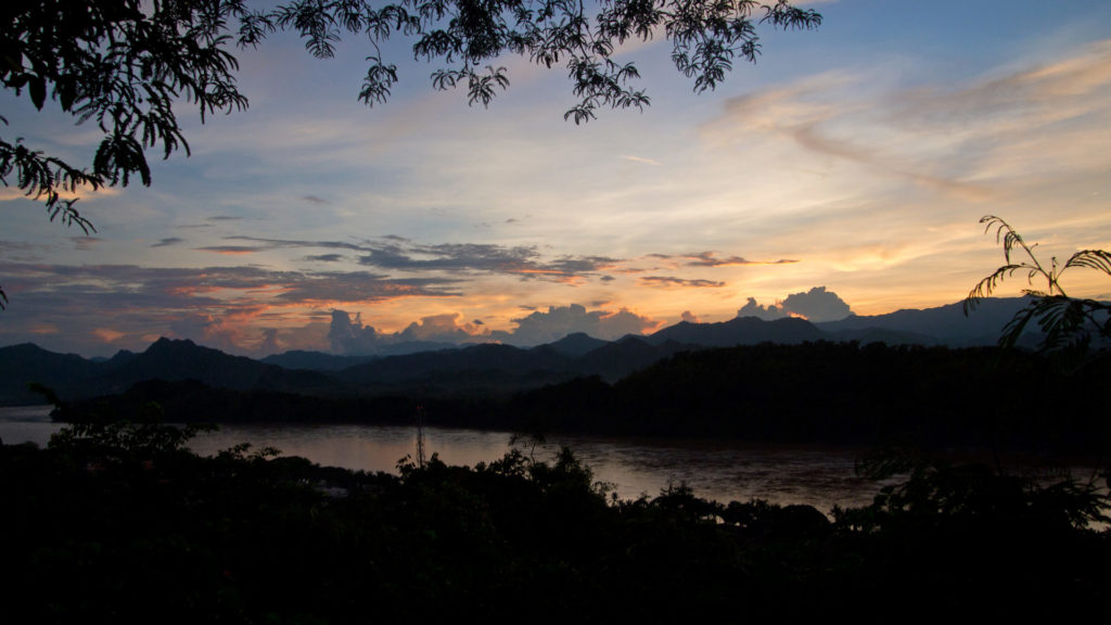 Sunset at the Mount Phou Si with a view at the Mekong, Luang Prabang