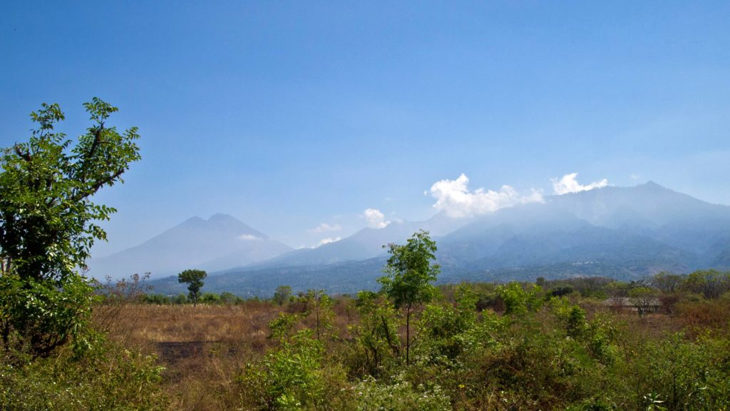 View at the Mount Rinjani and the mountain scenery in the east of Lombok