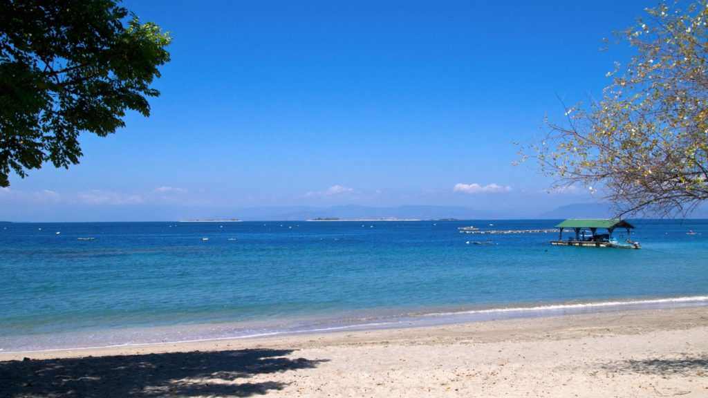 View from the mainland at the Gili islands in the east of Lombok