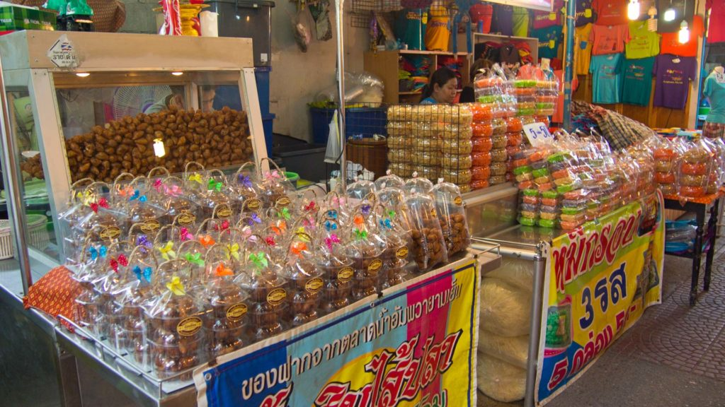 Stalls with sweets at the Amphawa Floating Market, Samut Songkhram