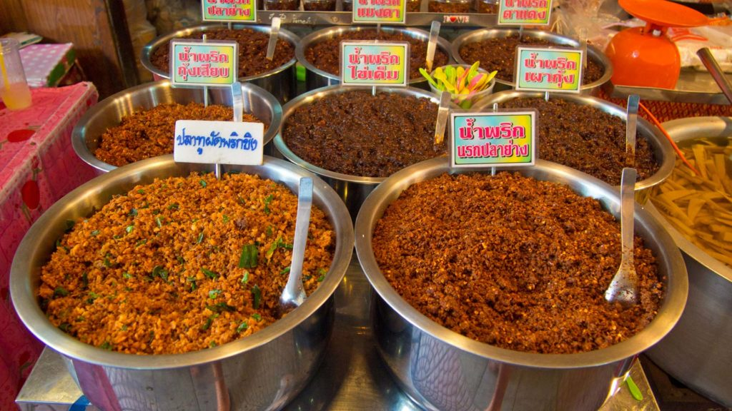 Various types of chili dishes at the Amphawa Floating Market