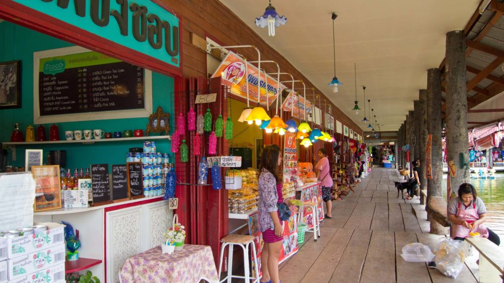 Stalls at the Sam Phan Nam Floating Market in Hua Hin, Thailand